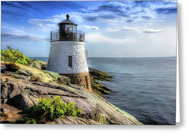 Greeting Card featuring the painting Castle Hill Lighthouse by Christopher Arndt