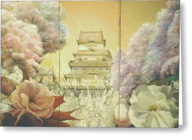 Castle Himeji - Sakura Greeting Card by Sorin Apostolescu