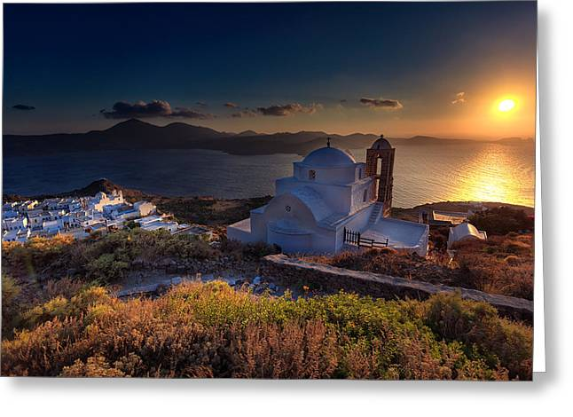 Castle In Milos At Plakas Greeting Card