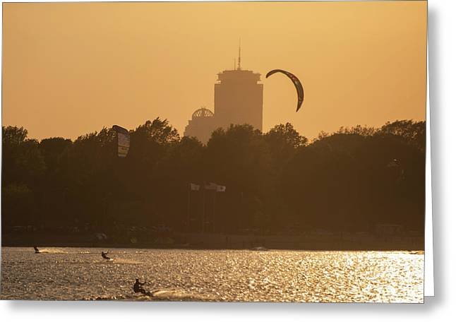 Castle Island Kite Boarded Boston Ma Sunset Prudential Greeting Card