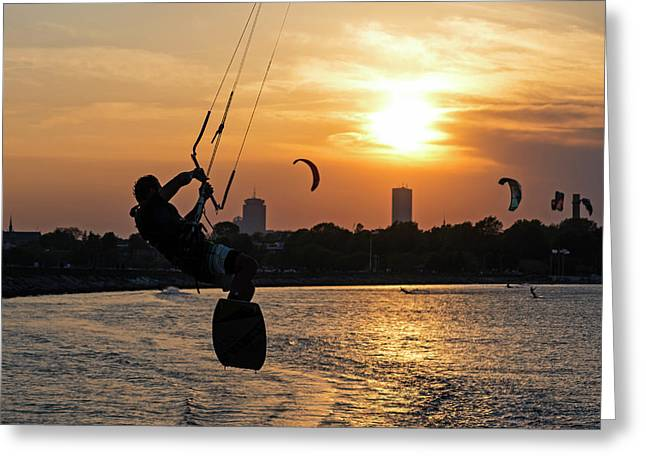 Castle Island Kite Boarder Boston Ma Sunset Greeting Card