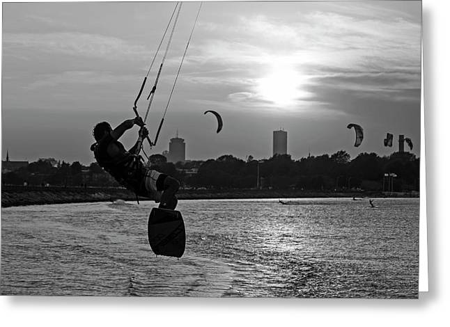 Castle Island Kite Boarder Boston Ma Sunset Black And White Greeting Card