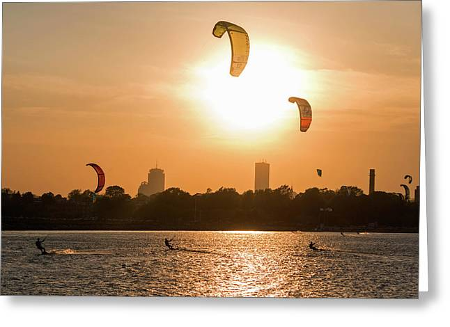 Castle Island Kite Boarders Boston Ma Sunset Greeting Card