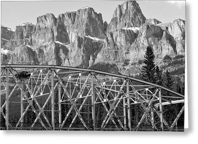 Castle Mountain Bridge In Black And White- By Carol Cottrell Greeting Card