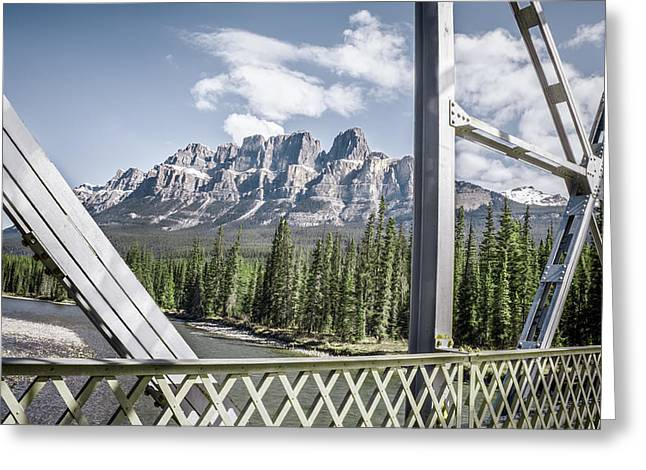 Castle Mountain Bridge View- By Carol Cottrell Greeting Card