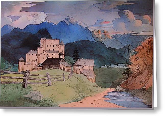Castle Naudersberg 1825 Greeting Card by Mountain Dreams