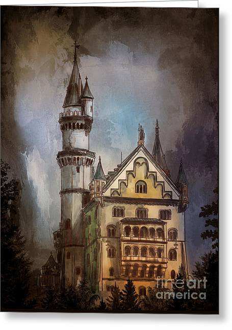 Greeting Card featuring the painting Castle Neuschwanstein by Andrzej Szczerski