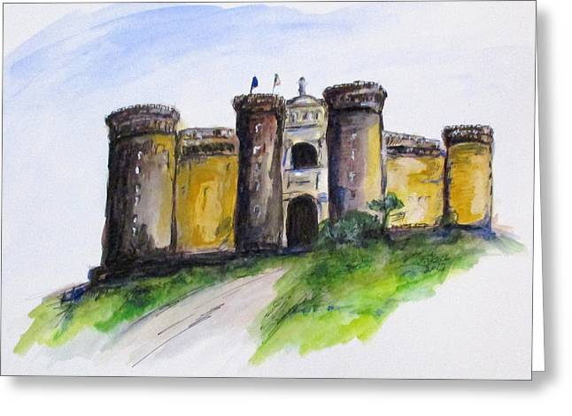 Greeting Card featuring the painting Castle Nuovo, Napoli by Clyde J Kell
