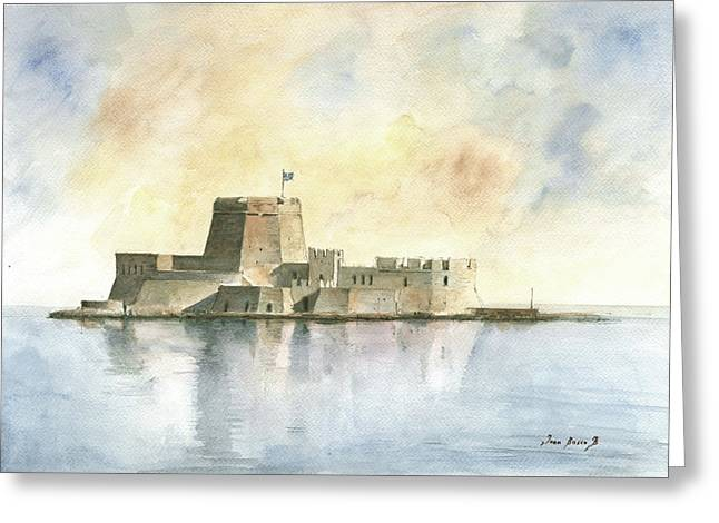 Castle Of Bourtzi In Nafplio Greeting Card