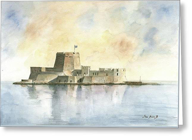 Castle Of Bourtzi In Nafplio Greeting Card by Juan Bosco