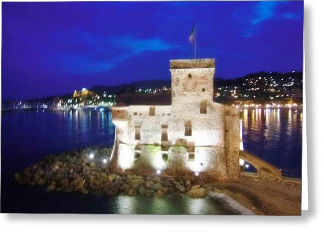 Castle Of Rapallo At Night Greeting Card