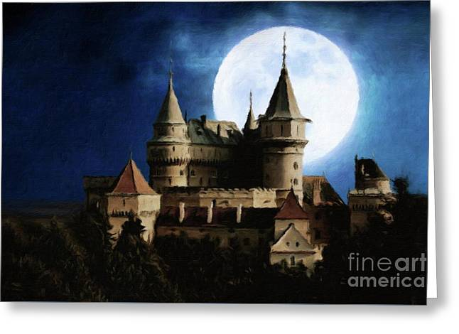 Castle Of The Moon By Sarah Kirk Greeting Card by Esoterica Art Agency