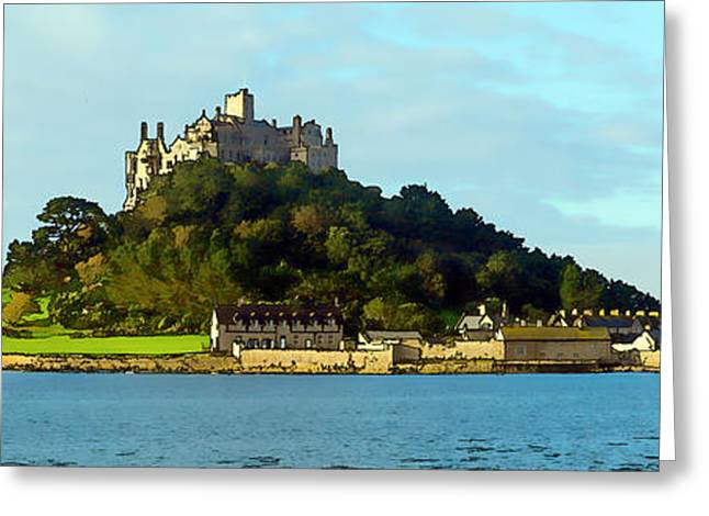 Castle On An Island St Michaels Mount Marazion Cornwall England Uk Medieval Greeting Card