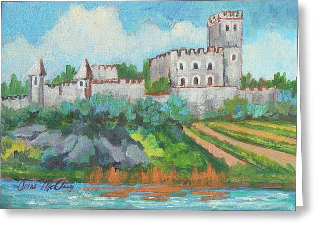 Greeting Card featuring the painting Castle On The Upper Rhine River by Diane McClary