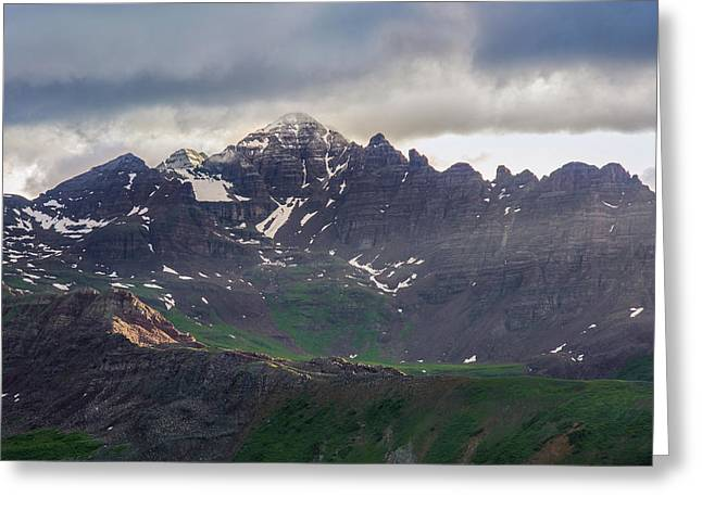 Greeting Card featuring the photograph Castle Peak by Aaron Spong