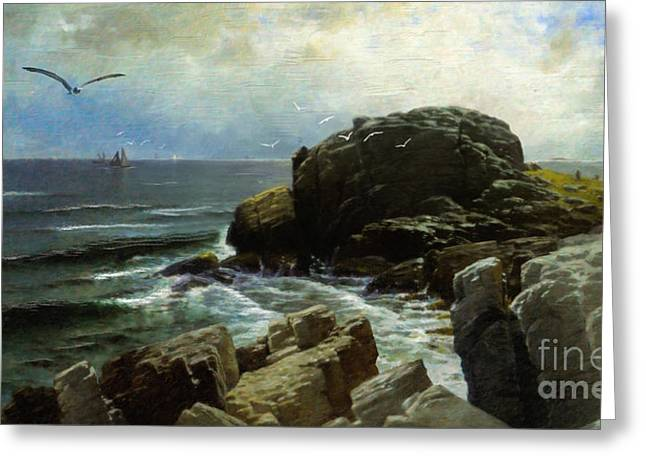 Greeting Card featuring the digital art Castle Rock - Marblehead by Lianne Schneider