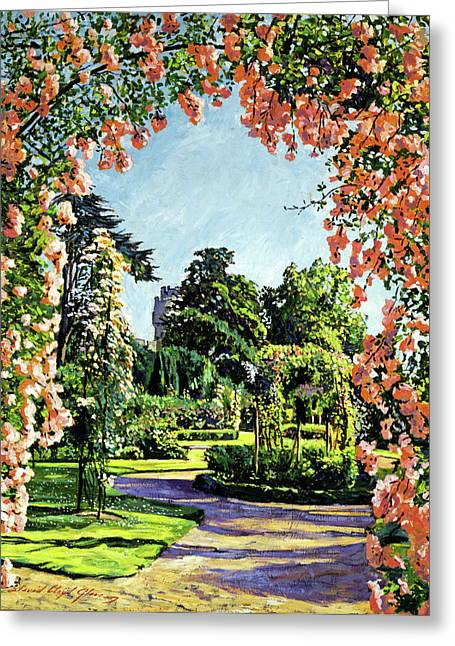 Castle Rose Garden Greeting Card by David Lloyd Glover