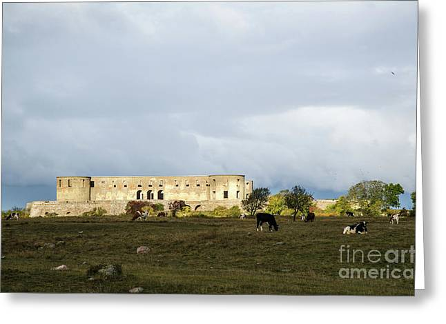 Greeting Card featuring the photograph Castle Ruin In Spotlight by Kennerth and Birgitta Kullman