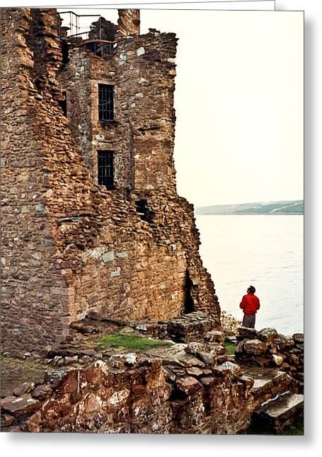 Castle Ruins On The Seashore In Ireland Greeting Card by Douglas Barnett