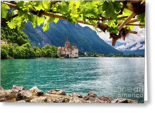 Castle View On Lake Geneva Greeting Card by George Oze