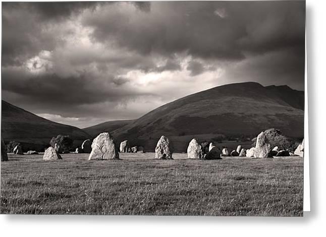 Castlerigg Stone Circle Sepia Greeting Card by Brian Northmore