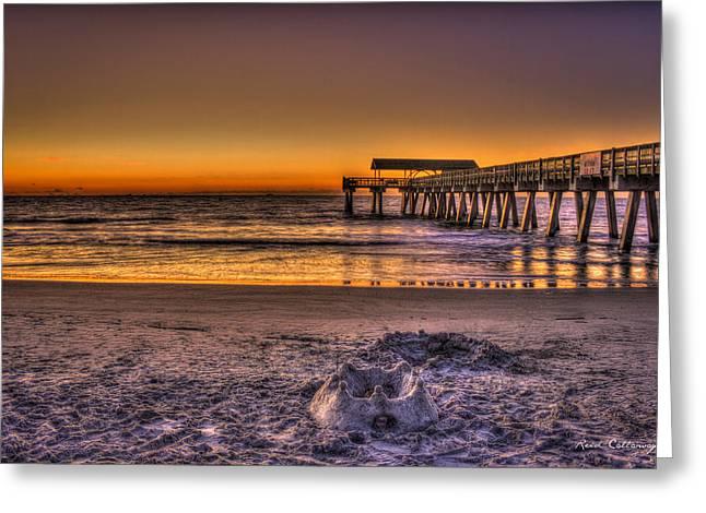Castles In The Sand Tybee Island Pier Sunrise Art Greeting Card by Reid Callaway