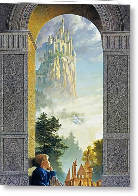 Wood Blocks Greeting Cards - Castles in the Sky Greeting Card by Greg Olsen