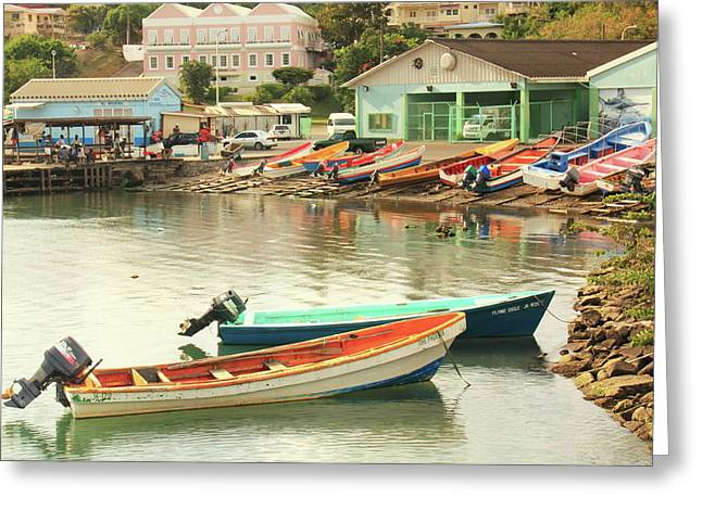 Castries Harbor Waterfront Greeting Card by Roupen  Baker