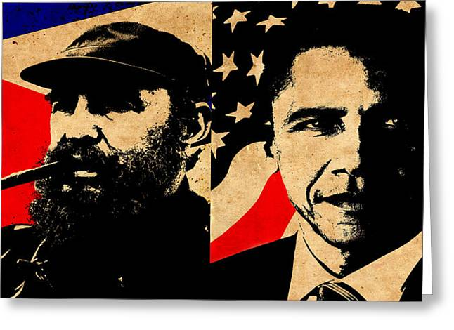 Castro And Obama Greeting Card