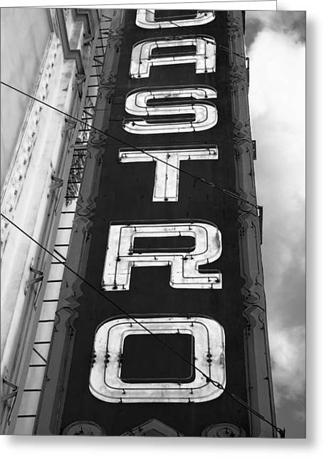 Castro District Sign - San Francisco - B W Greeting Card by Daniel Hagerman