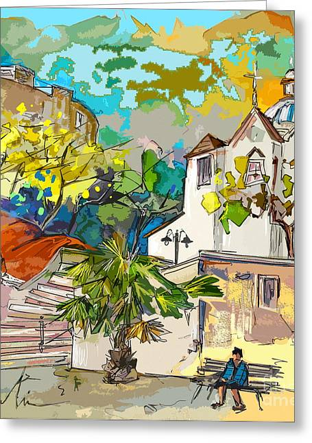 Travel Sketch Drawings Greeting Cards - Castro Marim Portugal 13 bis Greeting Card by Miki De Goodaboom