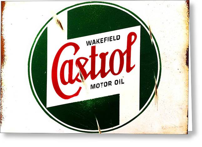 Vintage Sign Greeting Cards - Castrol Motor Oil Greeting Card by Mark Rogan