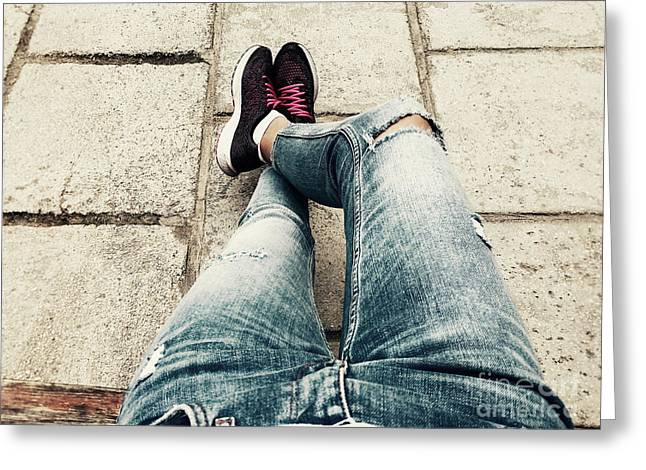 Casual Outfit Woman Relaxing On Summer Day Greeting Card by Radu Bercan
