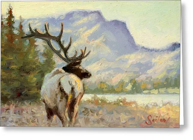 Casual Walk Elk Greeting Card by Larry Seiler