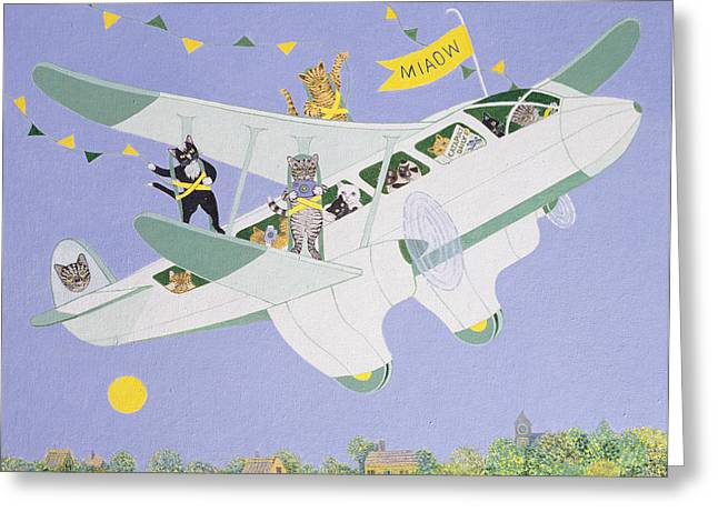 Cat Air Show Greeting Card by Pat Scott