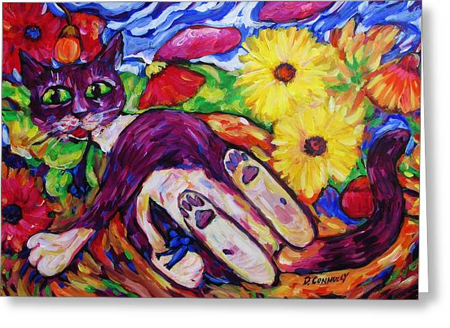 Cat Among Daisy Petals Greeting Card by Dianne  Connolly