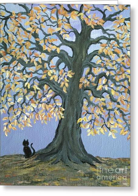 Cat And Crow Greeting Card by Nick Gustafson