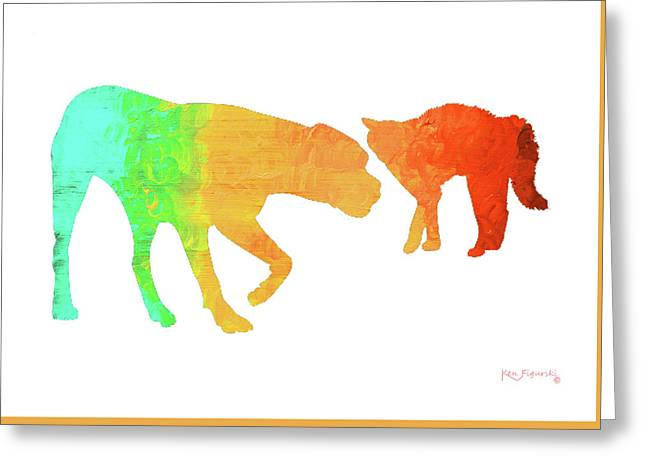 Cat And Dog Greeting Card by Ken Figurski