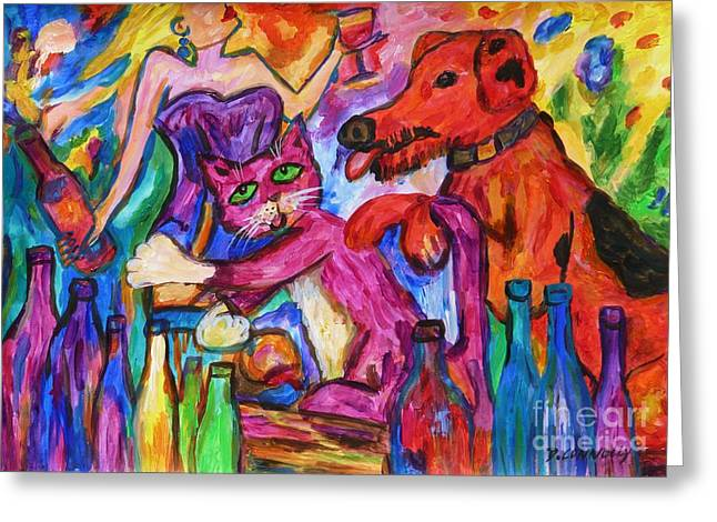 Cat And Dog Party Down Greeting Card by Dianne  Connolly