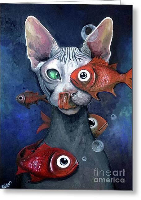 Cat And Fish Greeting Card