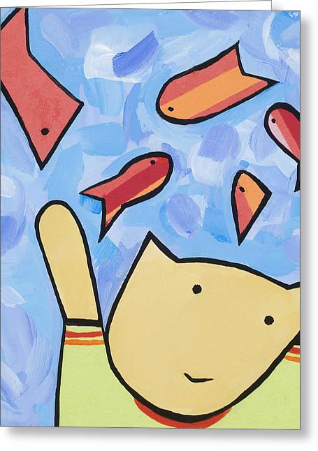 Cat And Fish Greeting Card by Michelle  Eggan