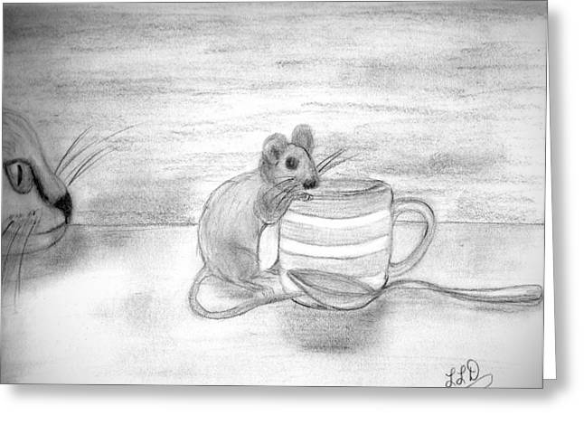 Cat And Mouse Greeting Card by Laura DAddona