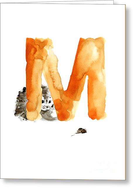 Cat And Mouse Minimalist Painting Greeting Card