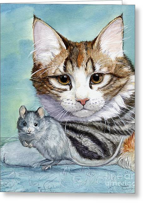 Cat And Mouse Greeting Card by Svetlana Ledneva-Schukina