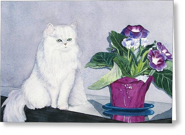 Cat And Potted Plant Greeting Card by Sharon Farber