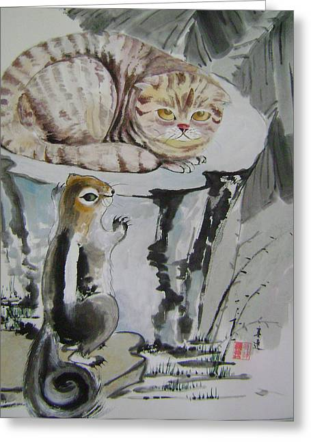 Cat And Squirrel Greeting Card by Lian Zhen
