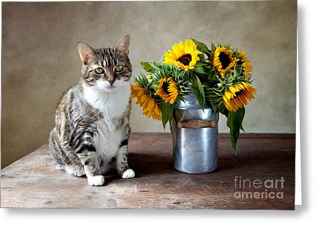 Yellow Brown Greeting Cards - Cat and Sunflowers Greeting Card by Nailia Schwarz