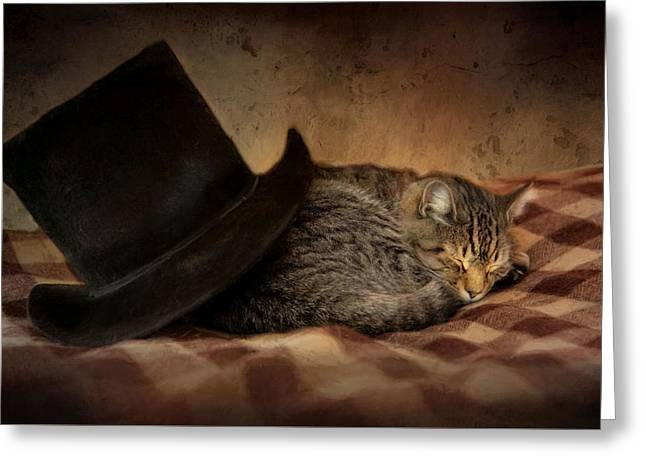 Greeting Card featuring the photograph Cat And The Hat by Robin-Lee Vieira
