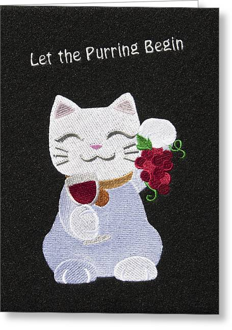 Cat And Wine Greeting Card by Sally Weigand