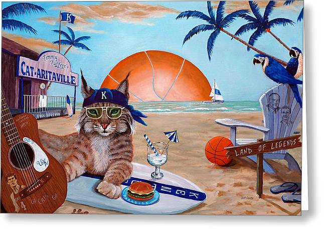 Wildcat Greeting Cards - Cat-aritaville Greeting Card by Jeff Conway